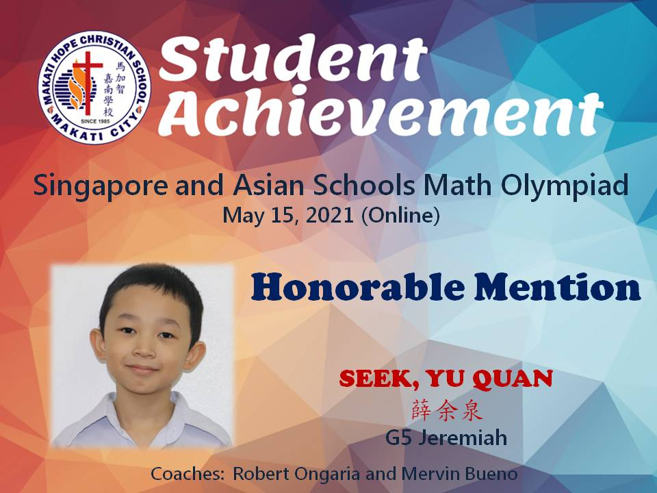 Singapore and Asian Schools Math Olympiad